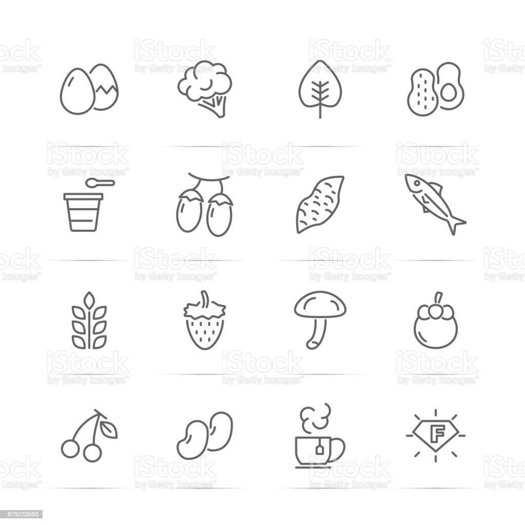 superfood vector line icons - ilustración de arte vectorial