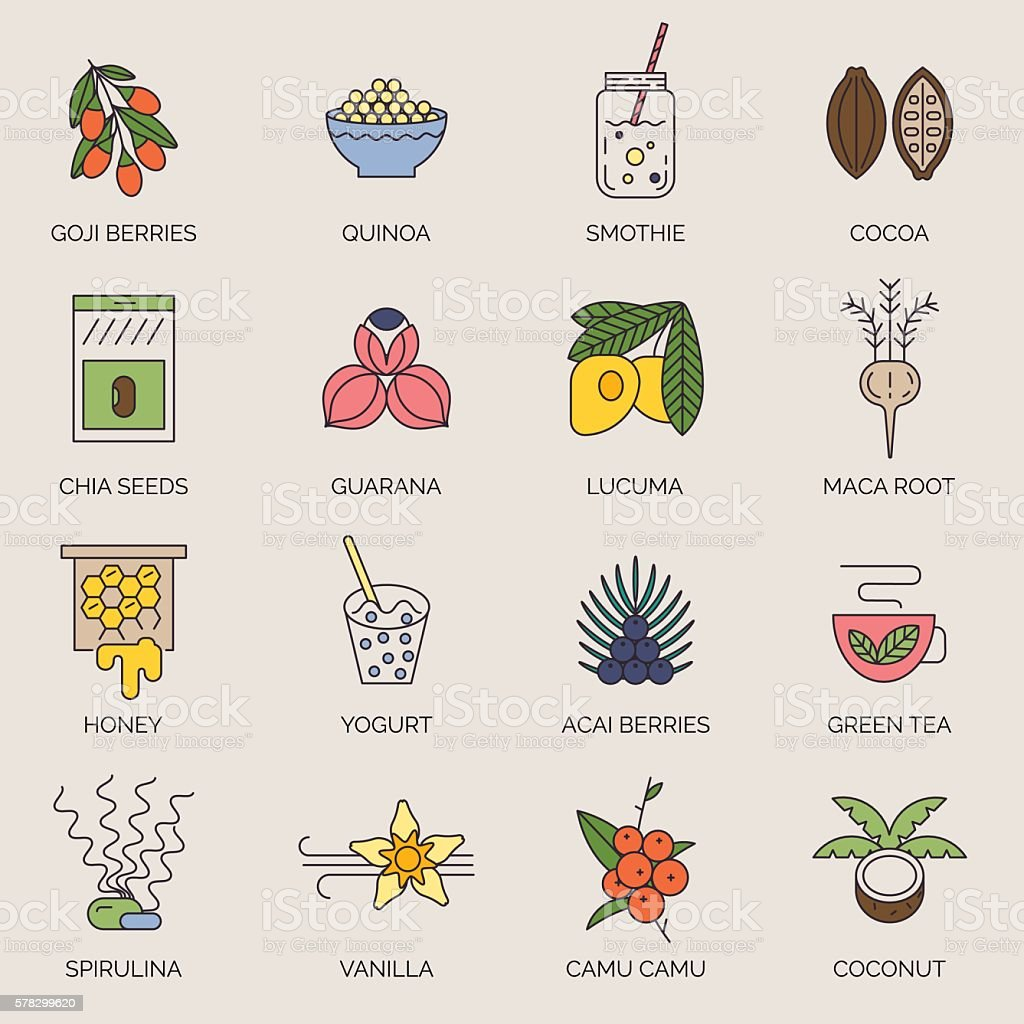 Superfoods line vector icons. vector art illustration