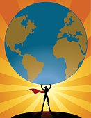 a silhouette style illustration of a superhero girl lifts a big world globe. AICS5 file included.
