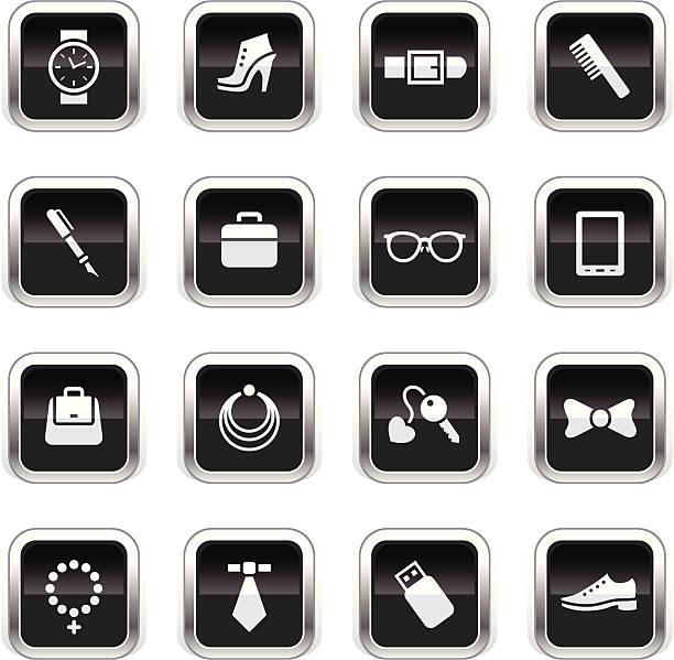 supergloss schwarz icon-accessoires - kreuzkette stock-grafiken, -clipart, -cartoons und -symbole