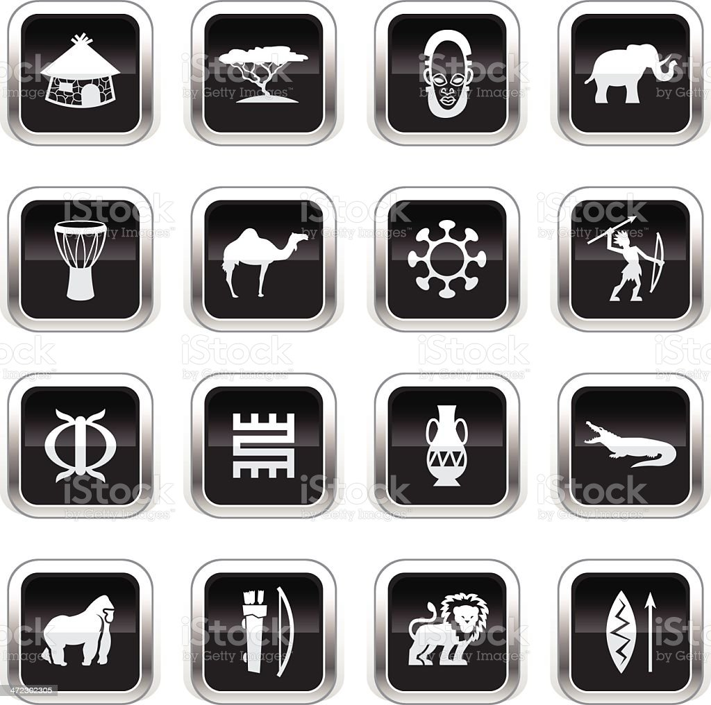 Supergloss Black Icons - Africa royalty-free stock vector art