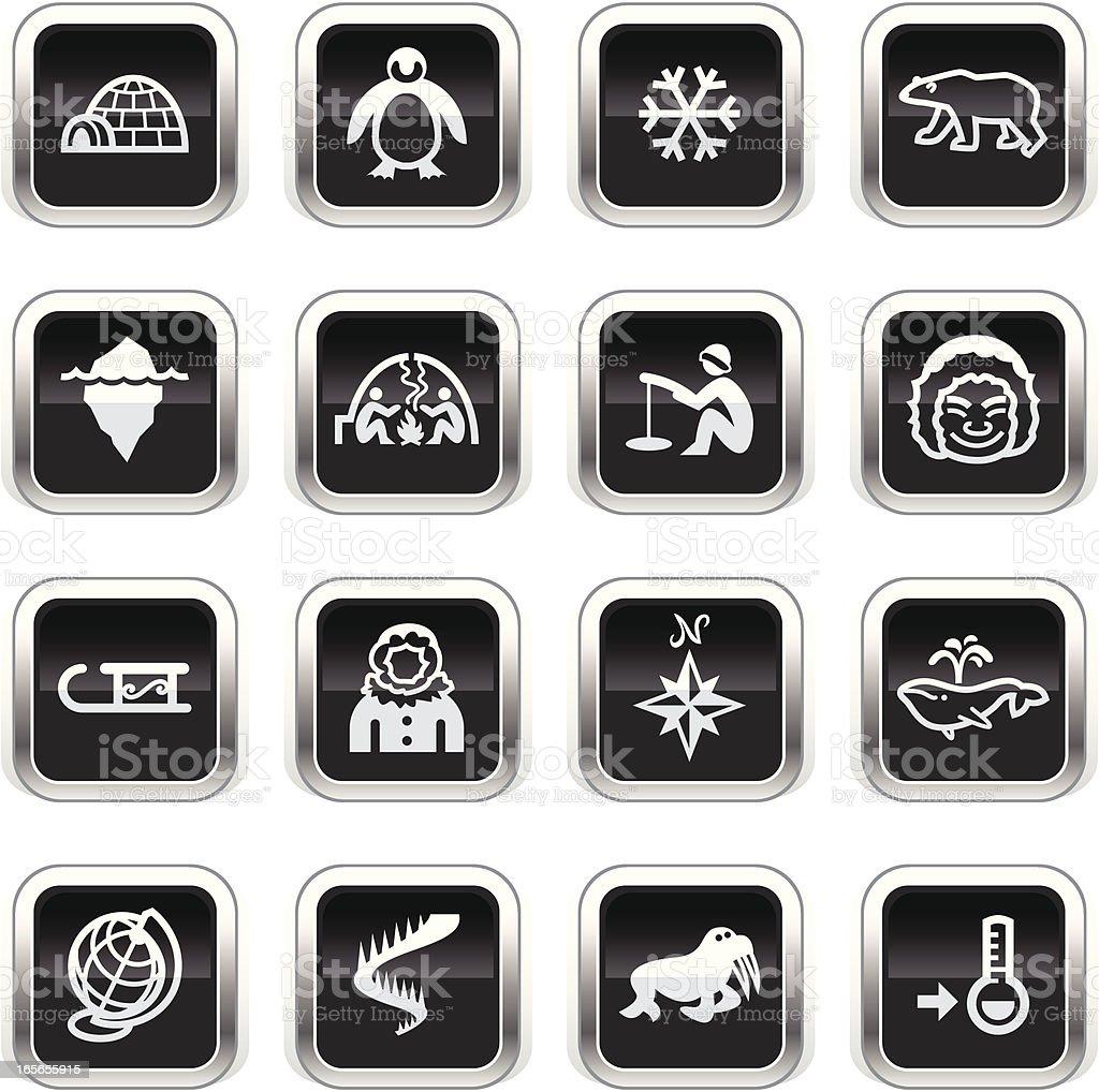 Supergloss Black Icons - Arctic royalty-free stock vector art