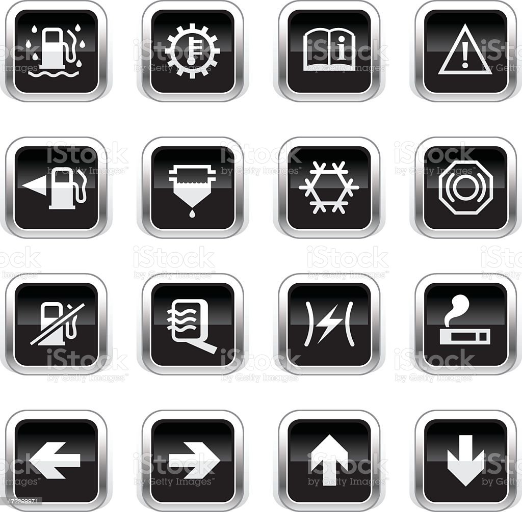 Supergloss Black Icons - Car Control Indicators royalty-free supergloss black icons car control indicators stock vector art & more images of alternative energy