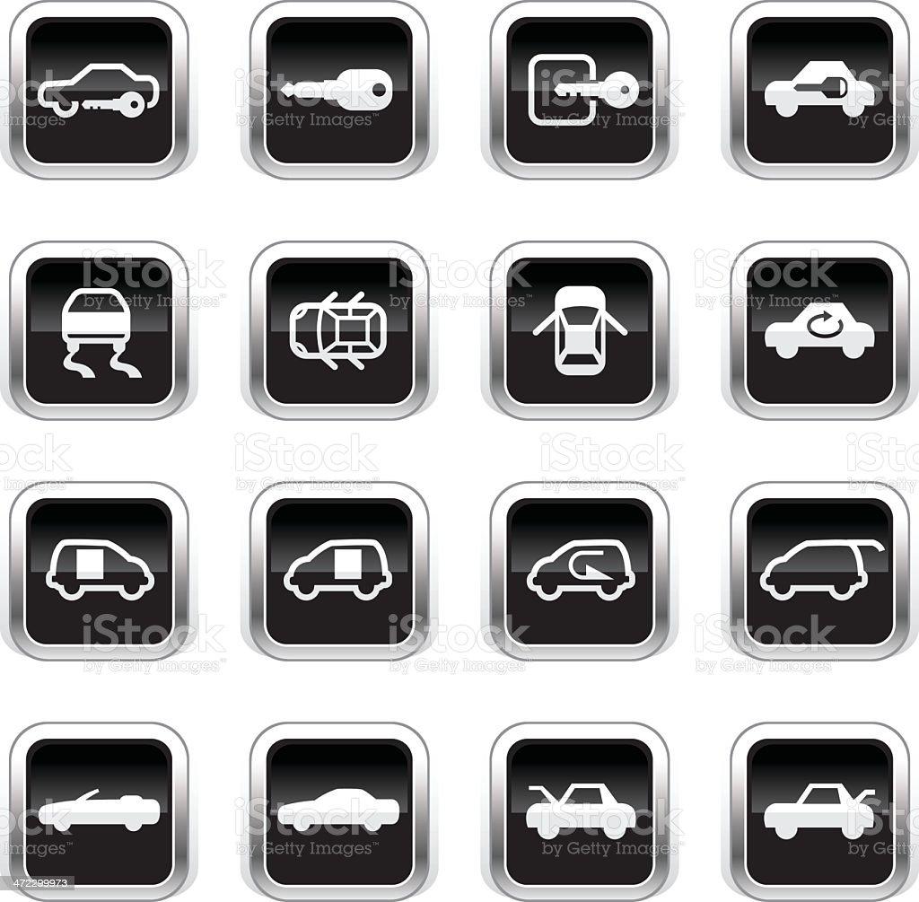 Supergloss Black Icons - Car Control Indicators royalty-free stock vector art