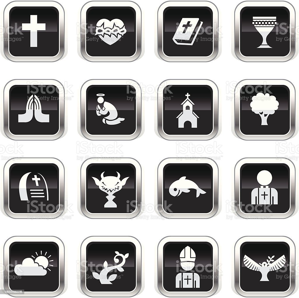 Supergloss Black Icons - Christian royalty-free supergloss black icons christian stock vector art & more images of bible