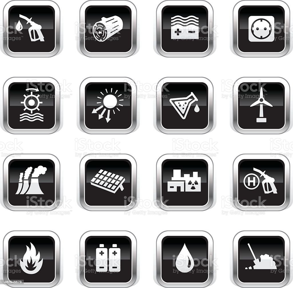 Supergloss Black Icons - Energy Sources royalty-free stock vector art