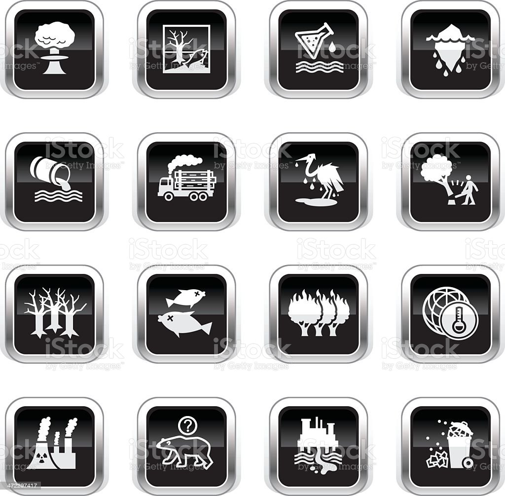 Supergloss Black Icons - Environmental Damage royalty-free supergloss black icons environmental damage stock vector art & more images of accidents and disasters