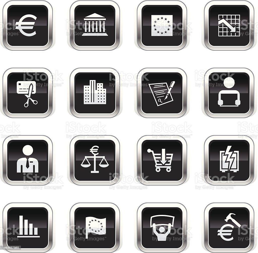 Supergloss Black Icons - European Union Recession royalty-free stock vector art