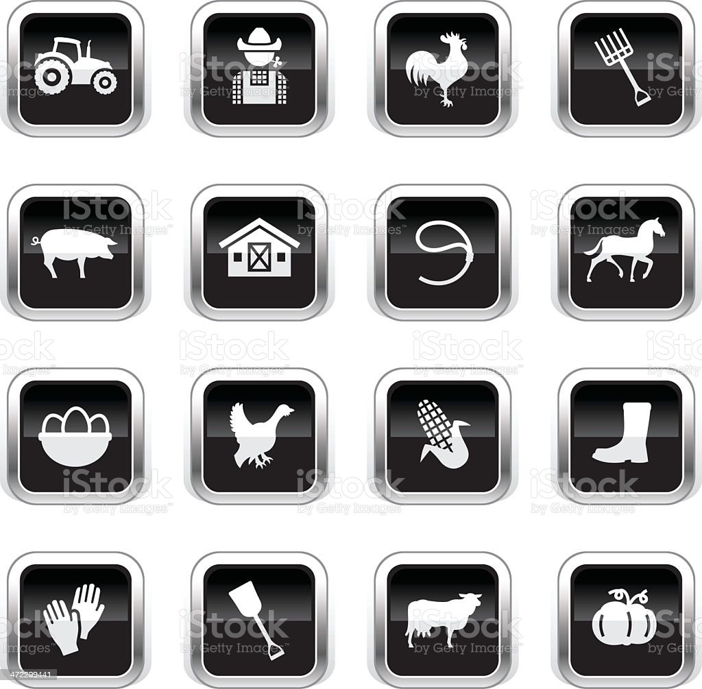 Supergloss Black Icons - Farm royalty-free supergloss black icons farm stock vector art & more images of agriculture
