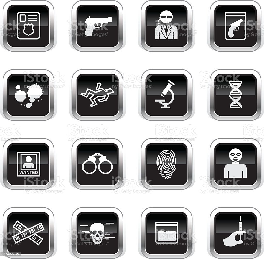 Supergloss Black Icons - FBI & Forensics royalty-free stock vector art