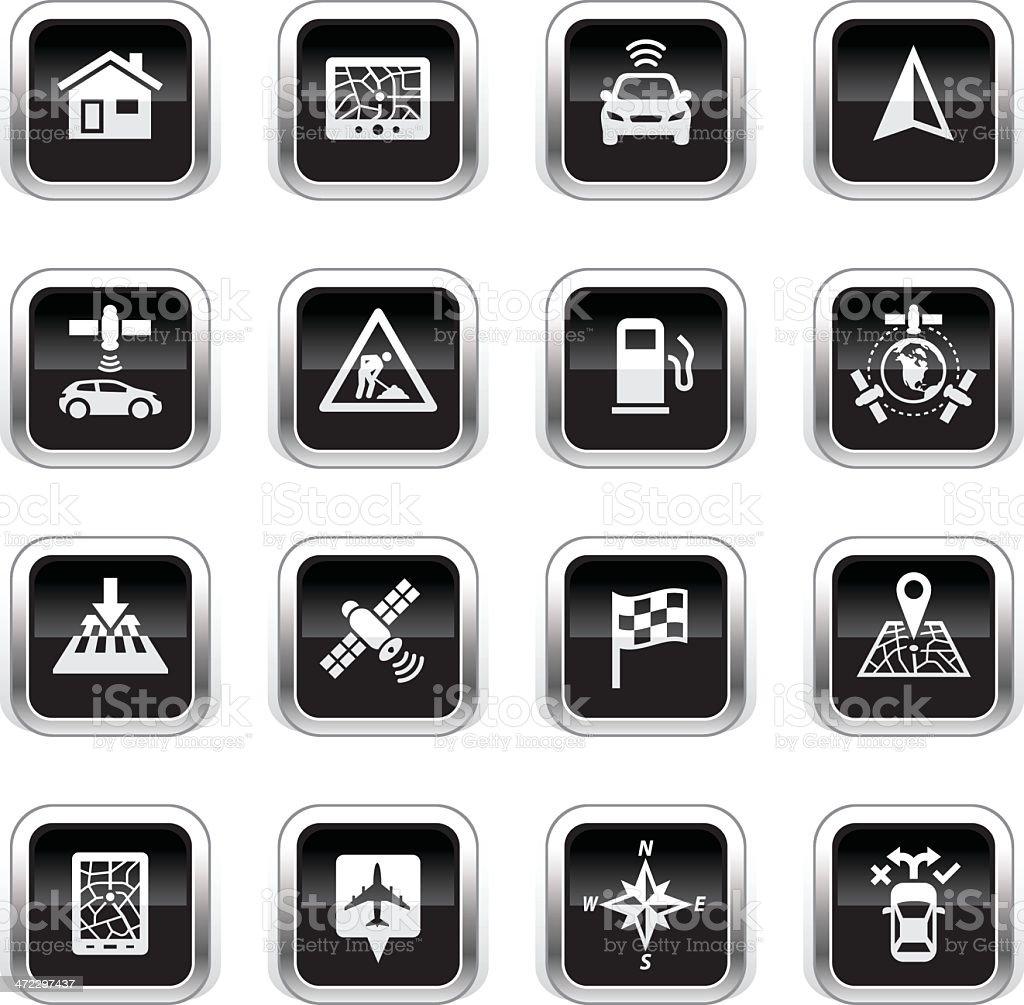 Supergloss Black Icons - GPS Navigation royalty-free stock vector art