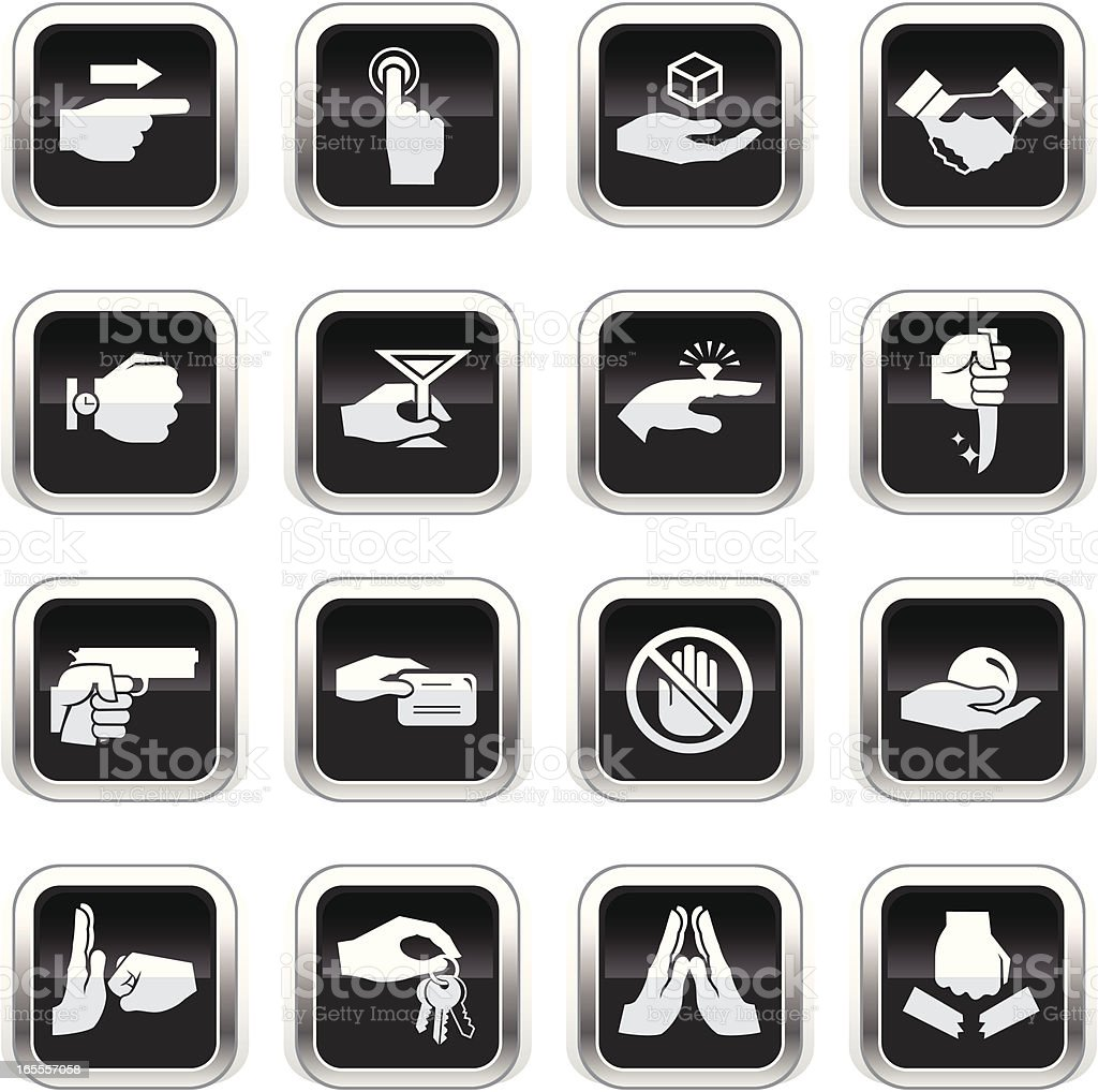 Supergloss Black Icons - Hands royalty-free stock vector art