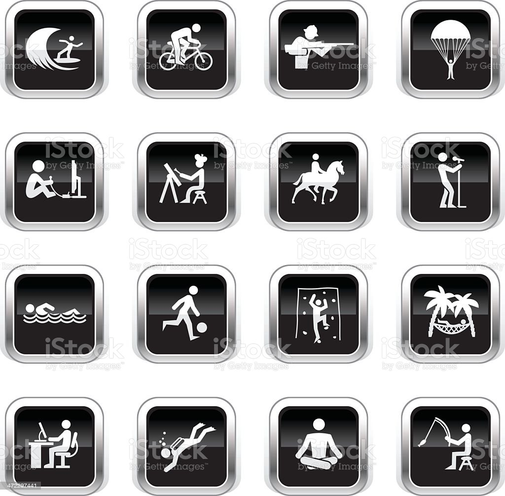 Supergloss Black Icons - Hobbies royalty-free stock vector art