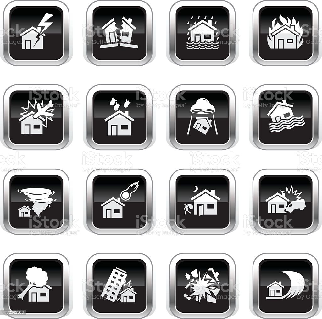 Supergloss Black Icons - House Catastrophe royalty-free supergloss black icons house catastrophe stock vector art & more images of accidents and disasters