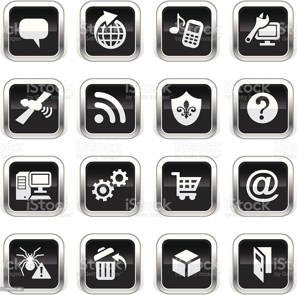 Supergloss Black Icons - Internet royalty-free stock vector art