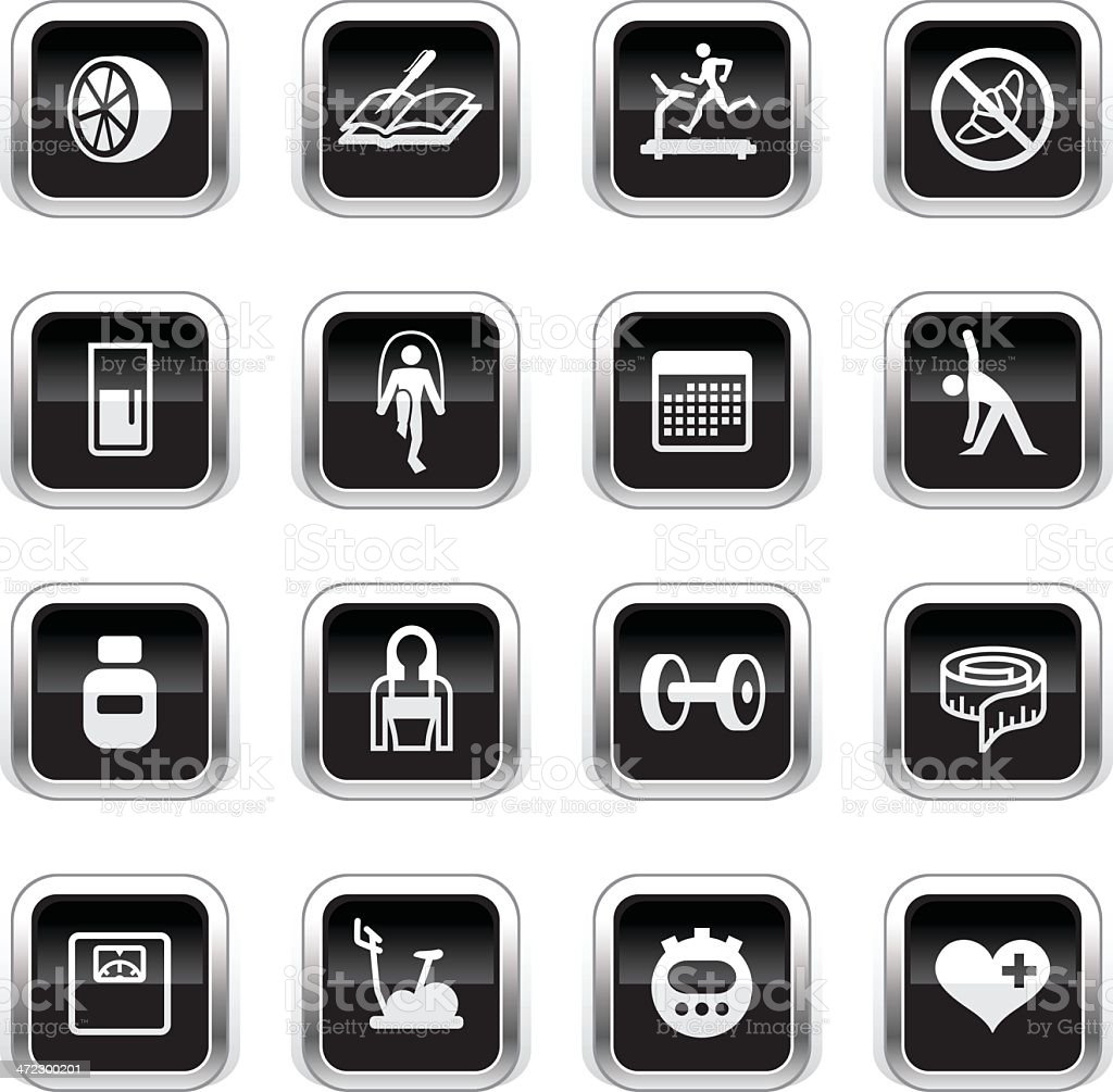 Supergloss Black Icons - Loosing Weight royalty-free stock vector art