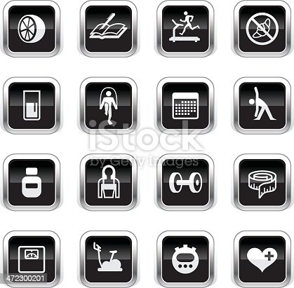 The icons were created using liner gradients and flat shapes. Elements are set on different layers.
