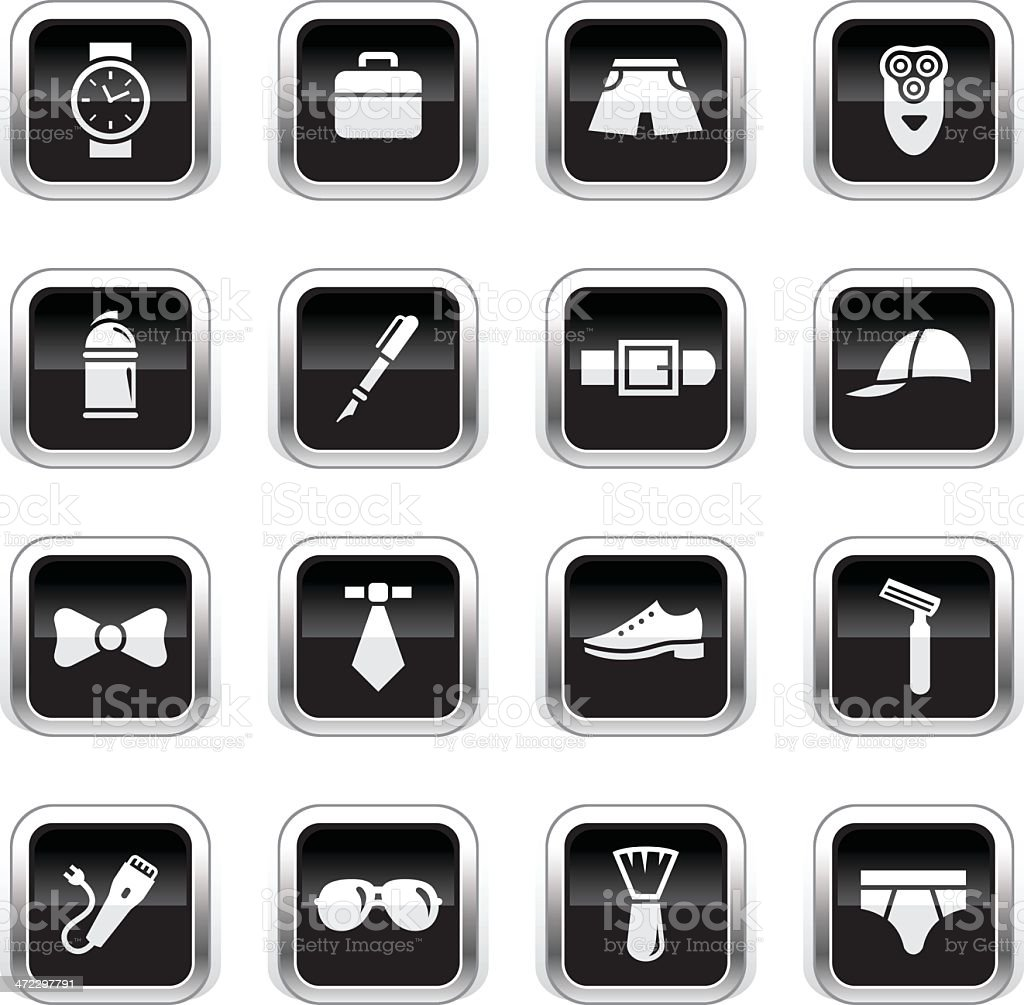 Supergloss Black Icons - Man's Accessories royalty-free stock vector art