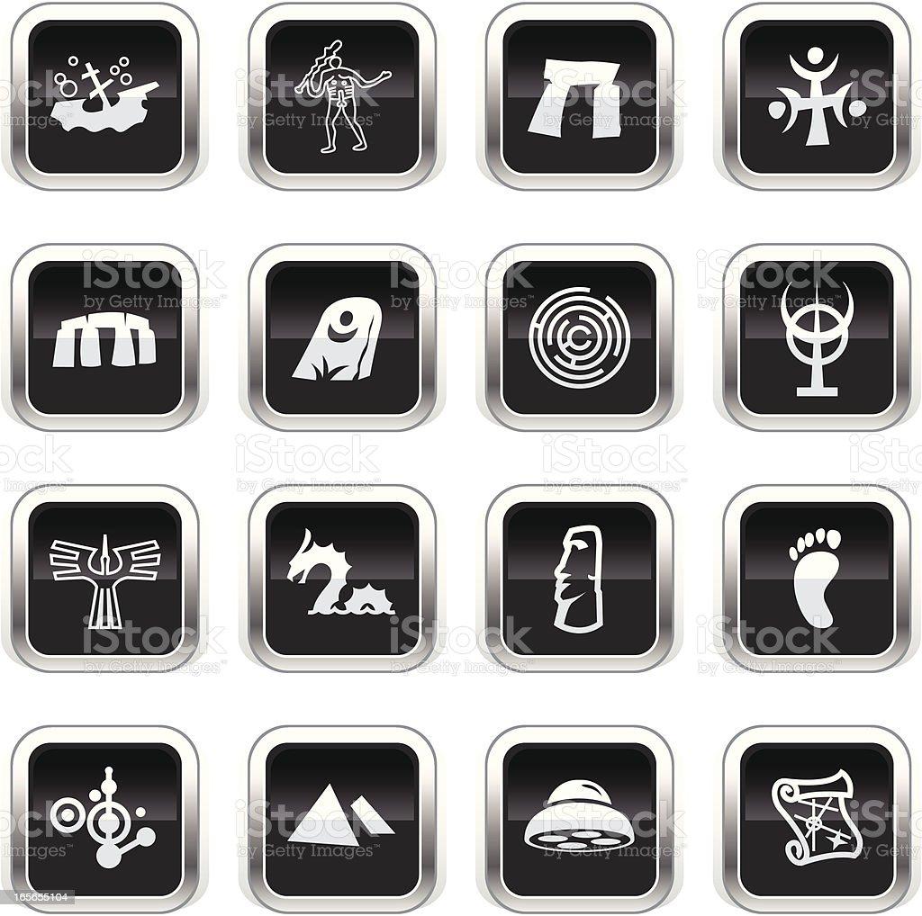 Supergloss Black Icons -  Mysteryes vector art illustration