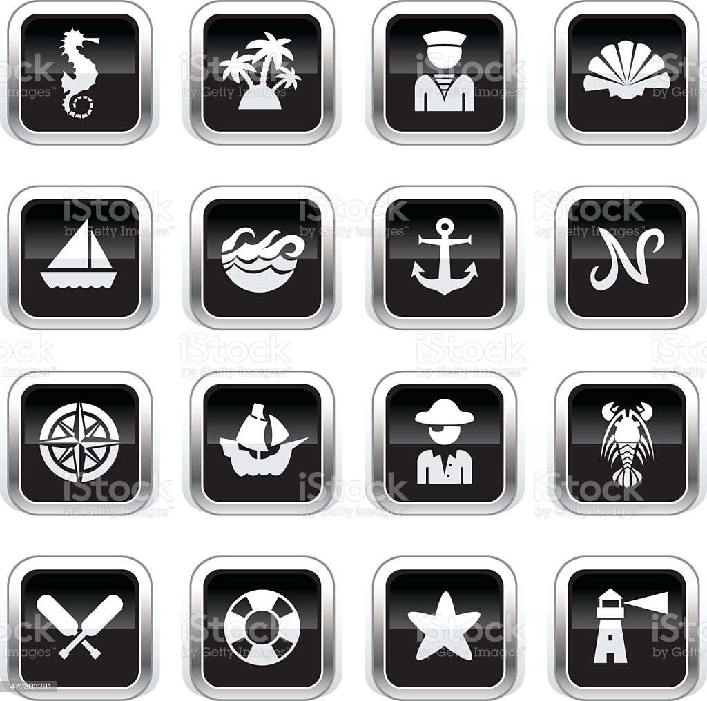 Supergloss Black Icons - Nautical royalty-free supergloss black icons nautical stock vector art & more images of anchor - vessel part