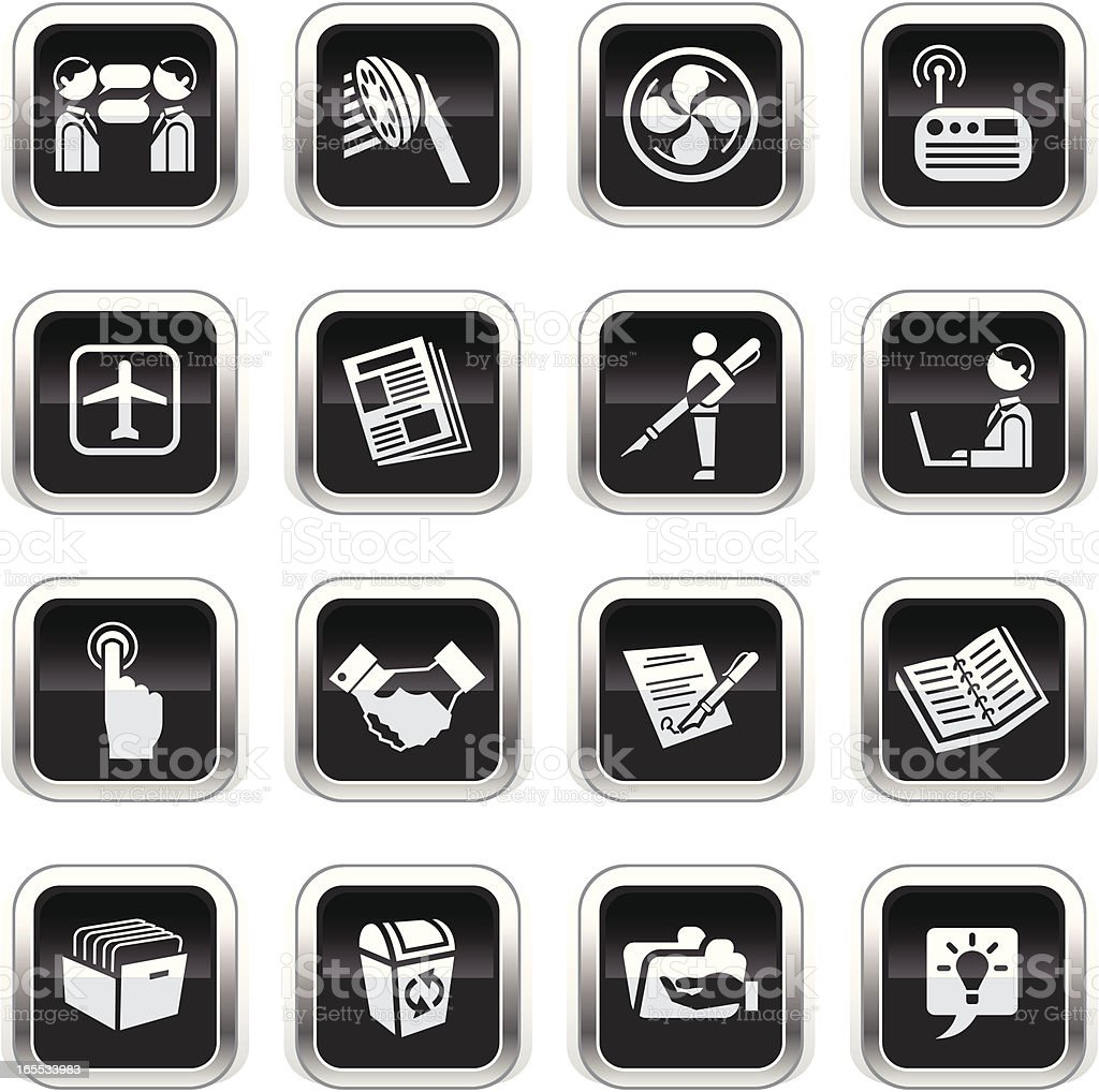 Supergloss Black Icons - Office royalty-free stock vector art