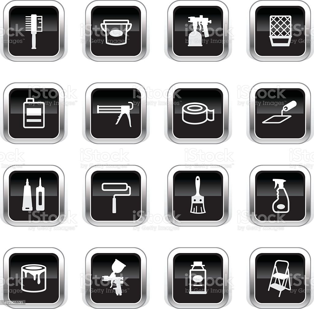Supergloss Black Icons - Painting Tools royalty-free stock vector art