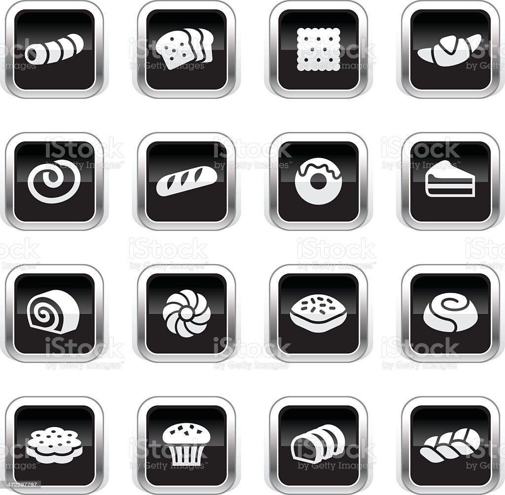 Supergloss Black Icons - Pastry vector art illustration