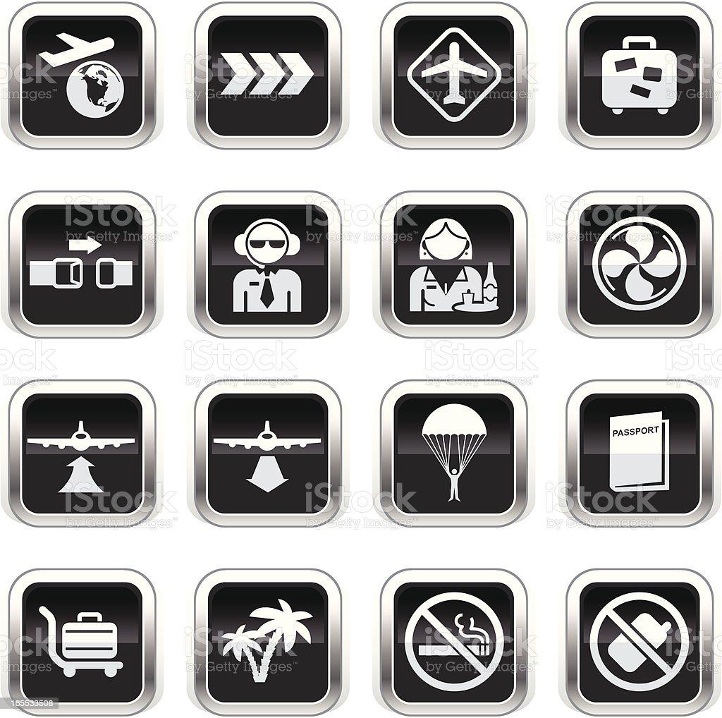 Supergloss Black Icons - Plane Travel vector art illustration