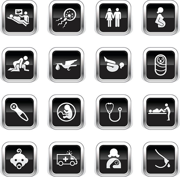 Supergloss Black Icons - Pregnancy & Childbirth vector art illustration