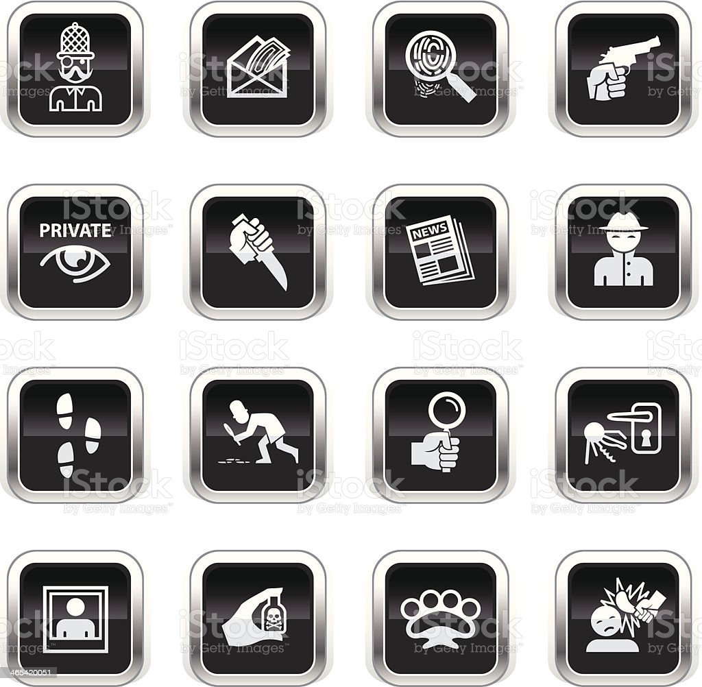 Supergloss Black Icons - Private Eye royalty-free supergloss black icons private eye stock vector art & more images of bottle