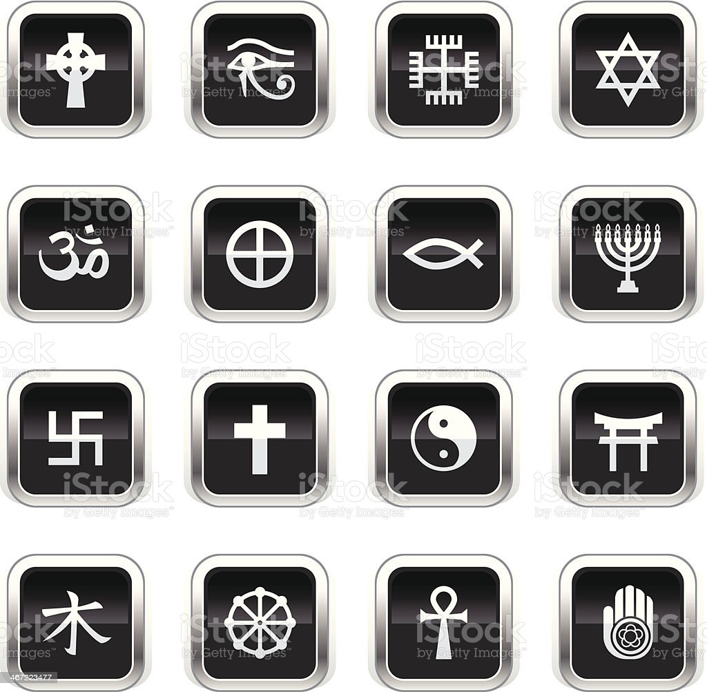 Supergloss Black Icons - Religious Symbols royalty-free supergloss black icons religious symbols stock vector art & more images of baptist