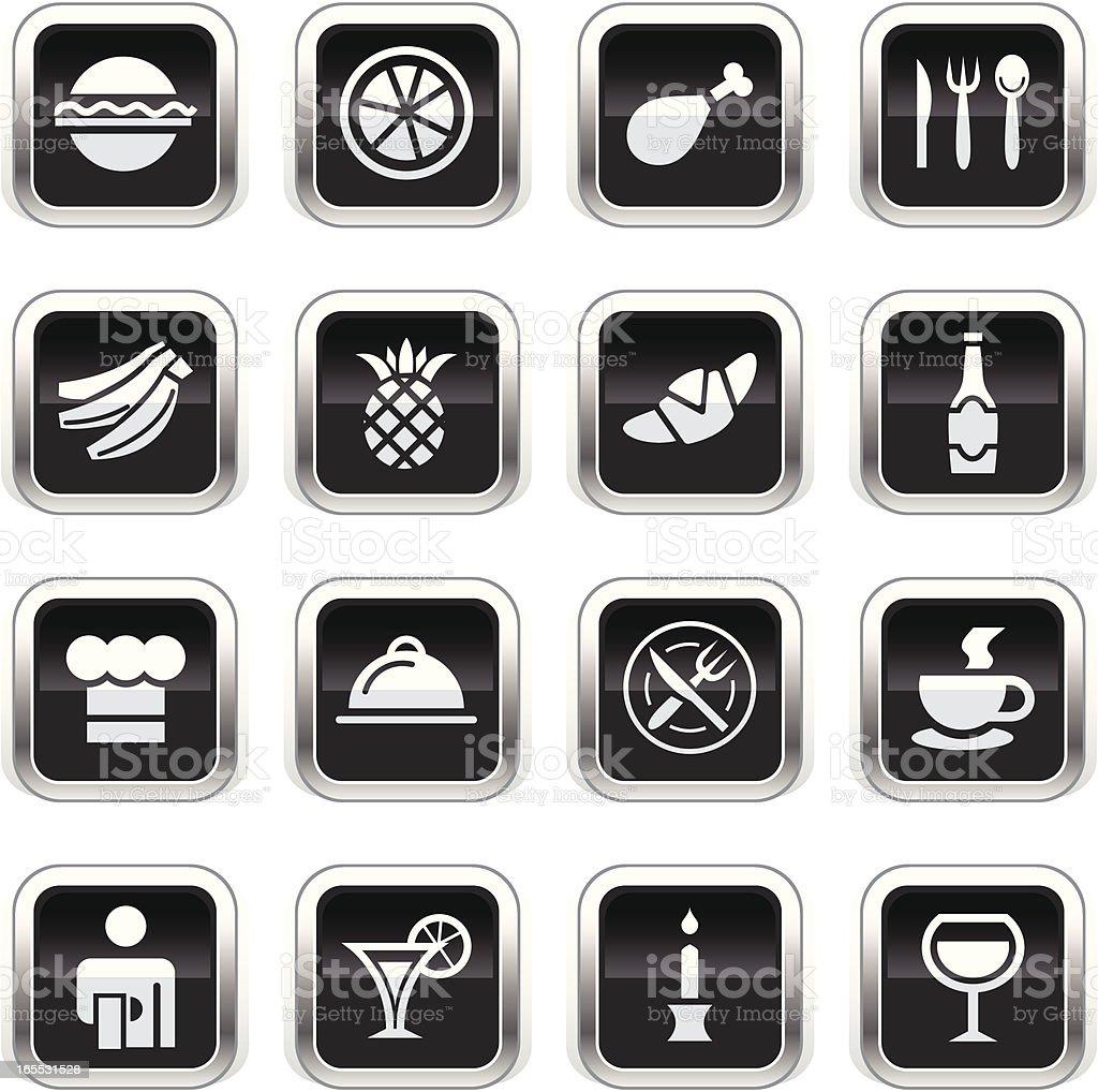 Supergloss Black Icons - Restaurant vector art illustration