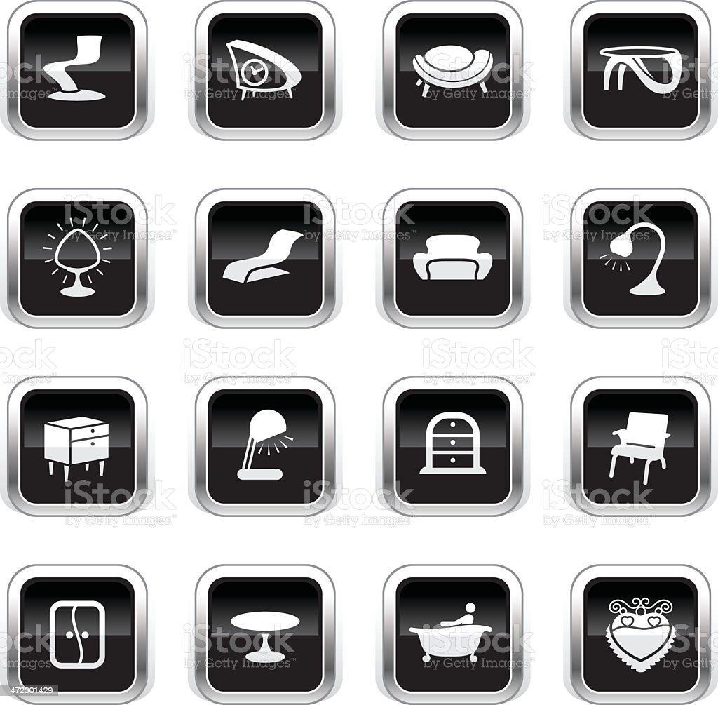 Supergloss Black Icons - Retro Furniture royalty-free stock vector art