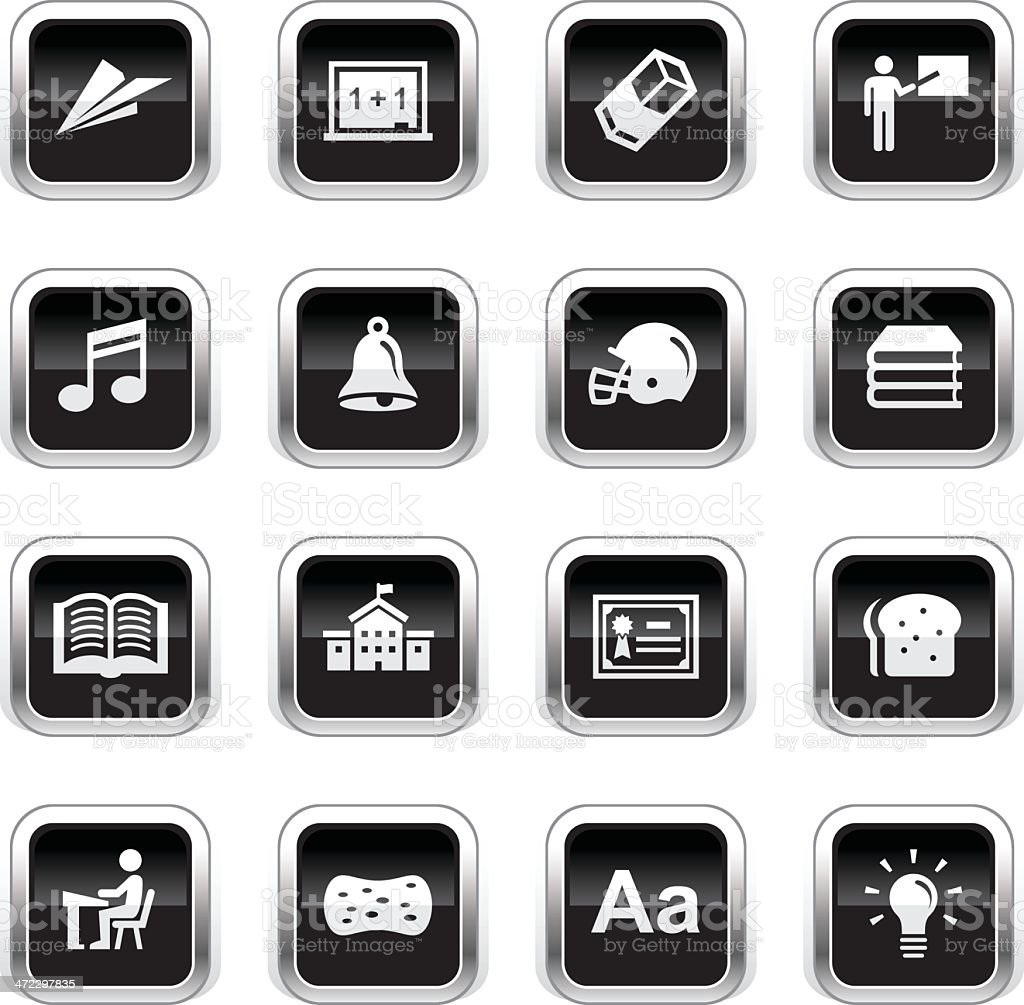 Supergloss Black Icons - School & Education royalty-free stock vector art