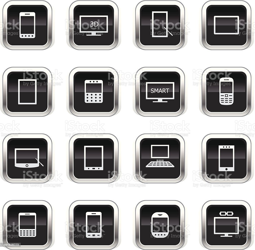 Supergloss Black Icons - Smart Devices royalty-free supergloss black icons smart devices stock vector art & more images of accessibility