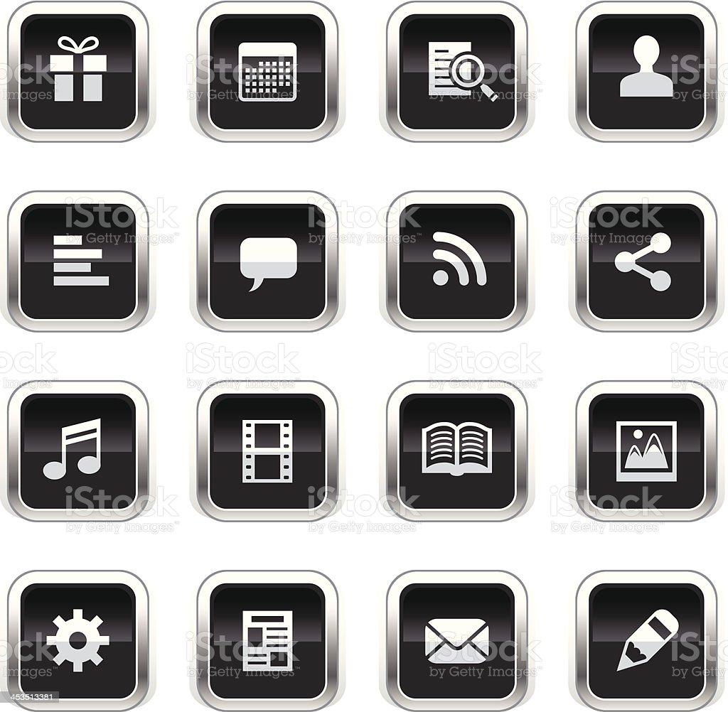 Supergloss Black Icons - Social Network royalty-free stock vector art