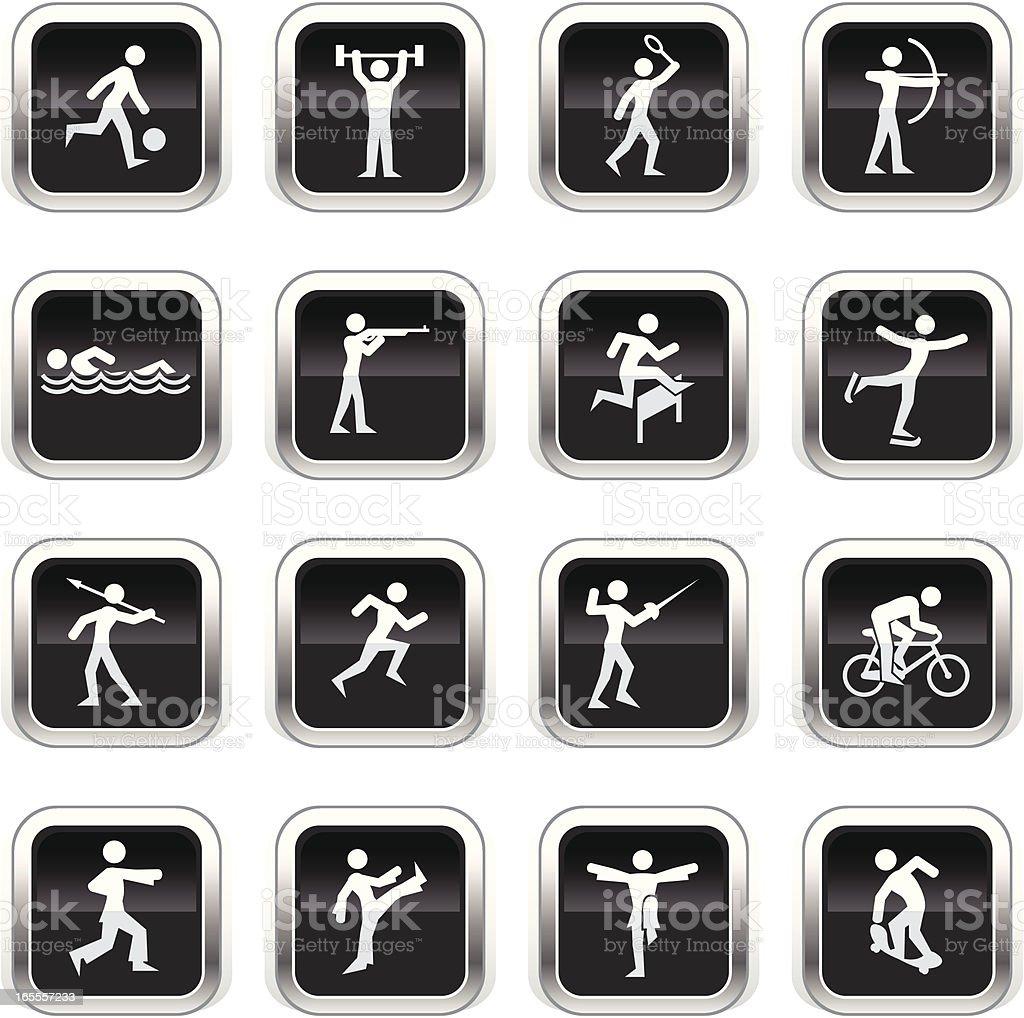 Supergloss Black Icons - Sports royalty-free stock vector art