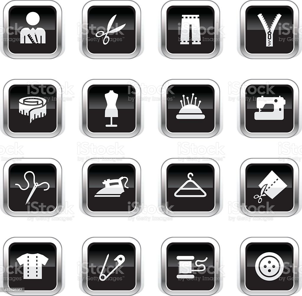 Supergloss Black Icons - Tailor royalty-free stock vector art