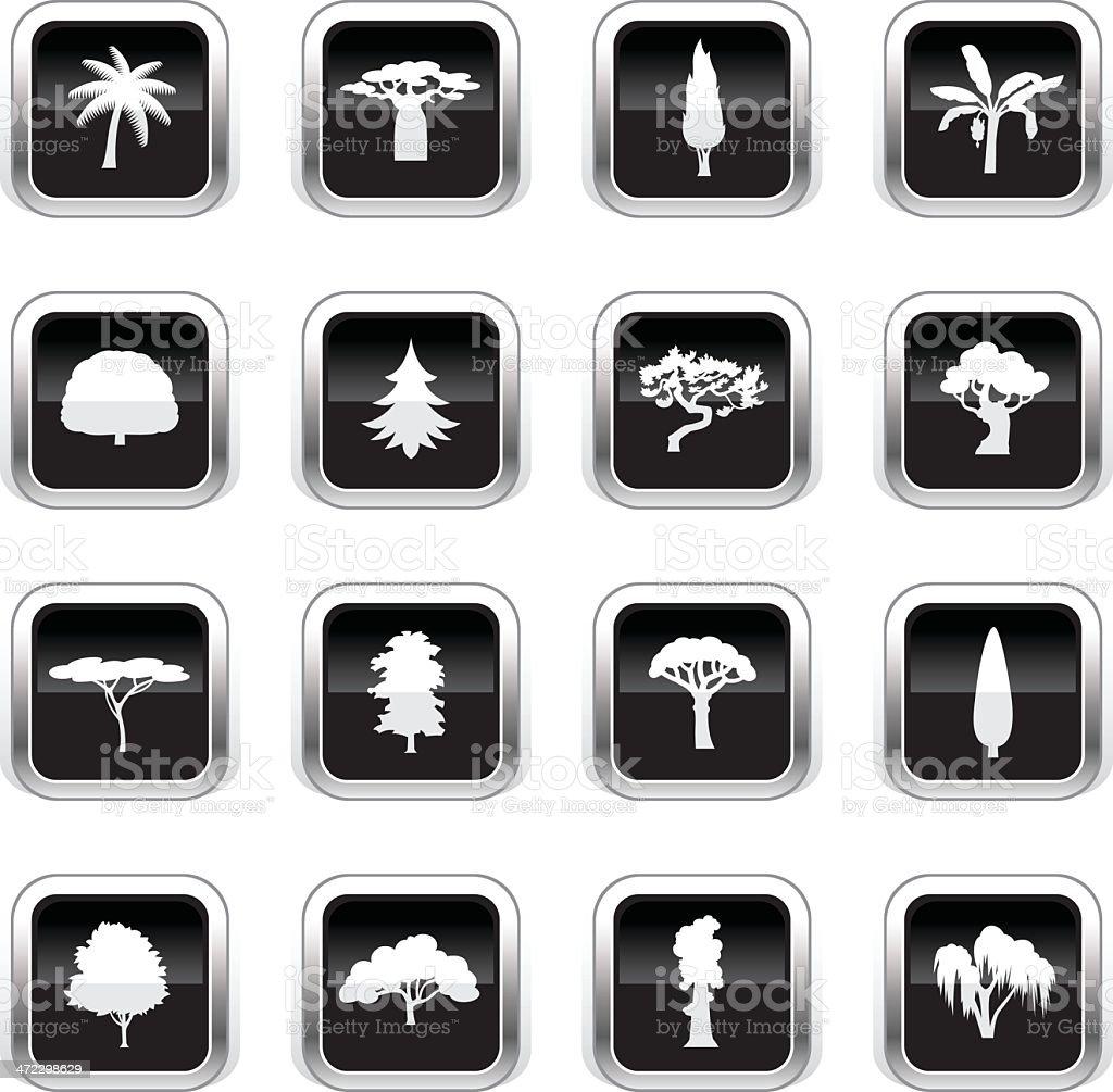 Supergloss Black Icons - Trees royalty-free stock vector art