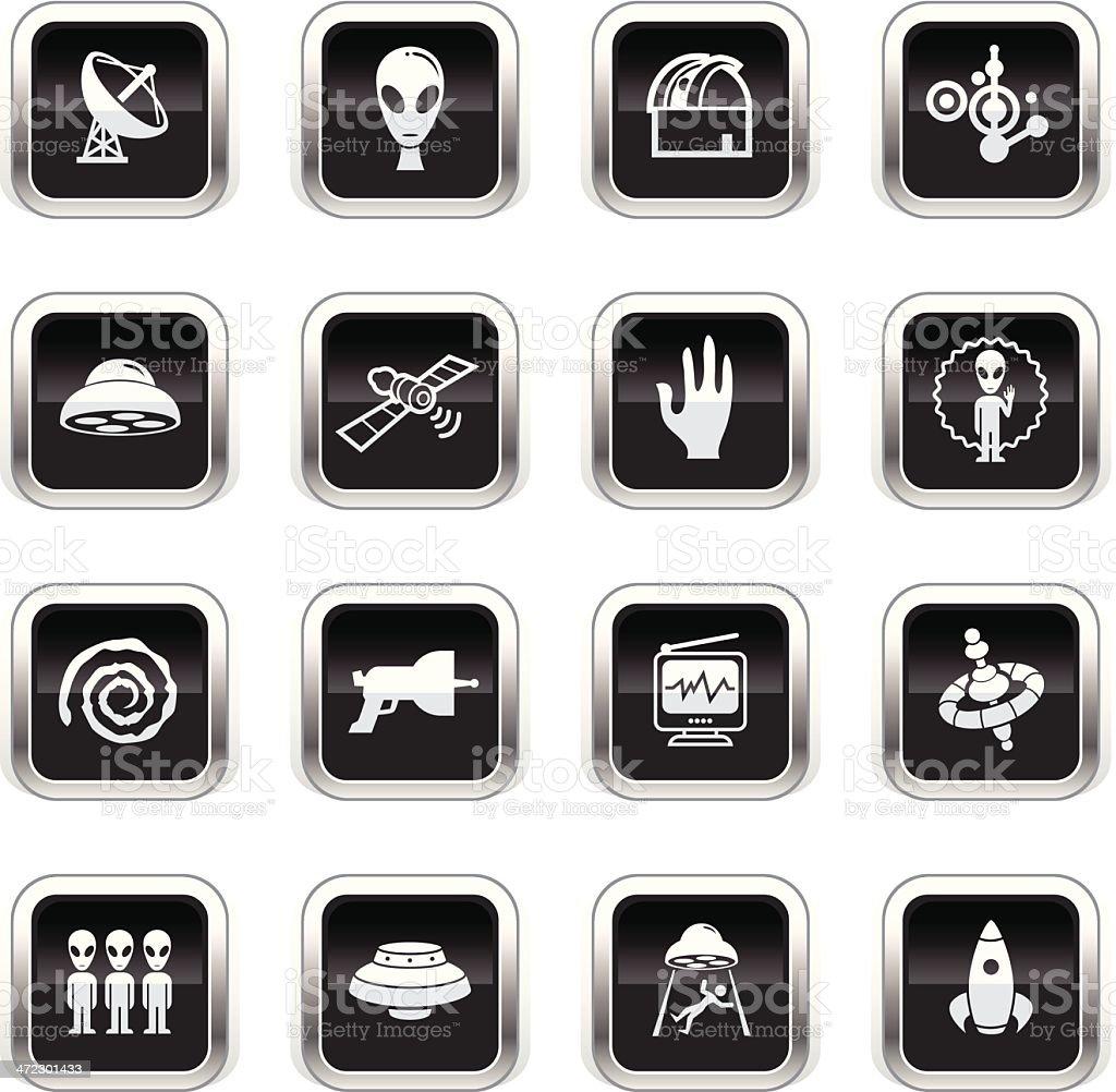 Supergloss Black Icons - UFO vector art illustration