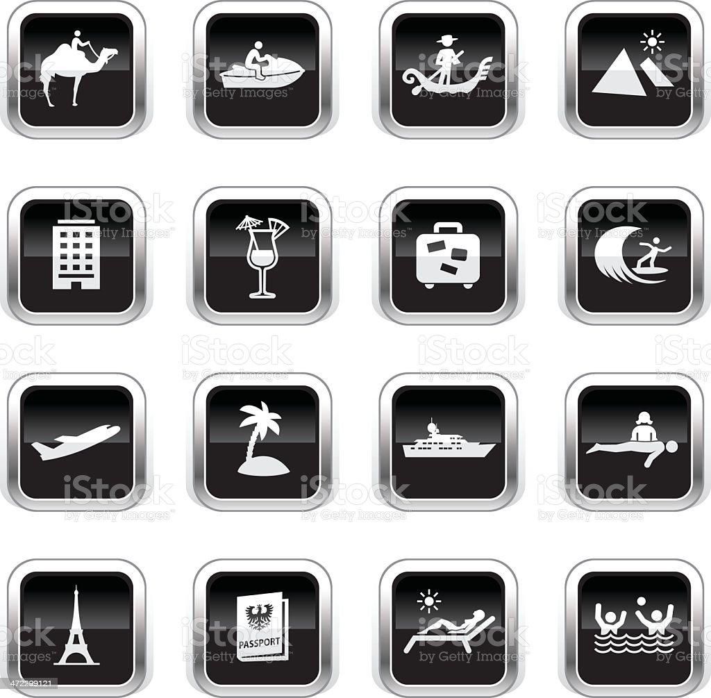 Supergloss Black Icons - Vacation royalty-free stock vector art