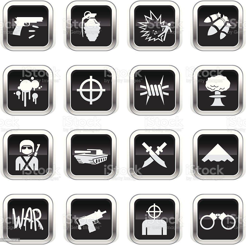 Supergloss Black Icons - War royalty-free stock vector art