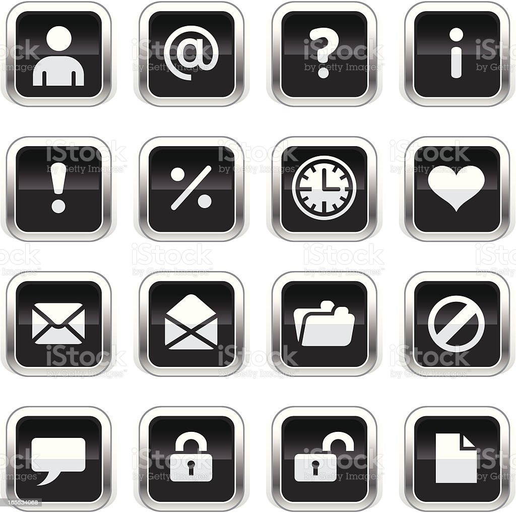 Supergloss Black Icons - Web royalty-free stock vector art