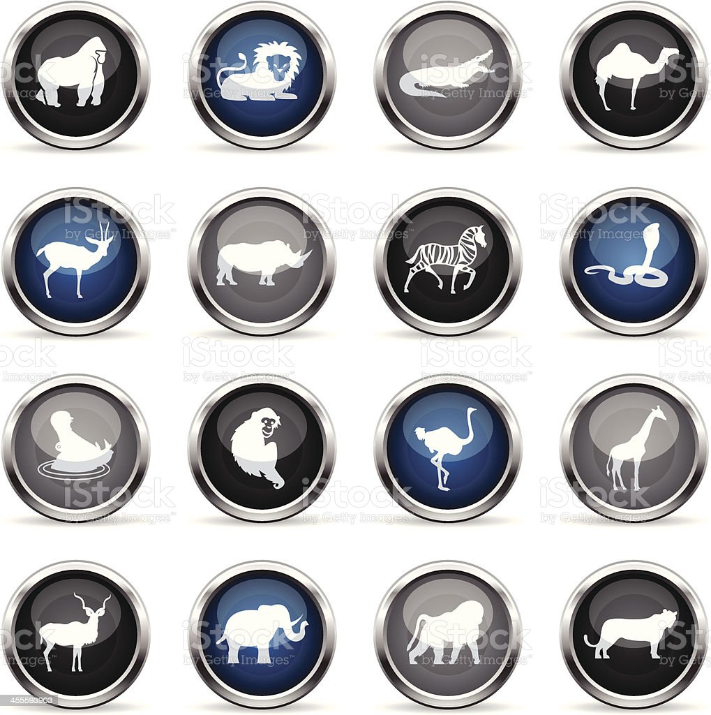 Supergloss Icons - African Animals royalty-free supergloss icons african animals stock vector art & more images of animal