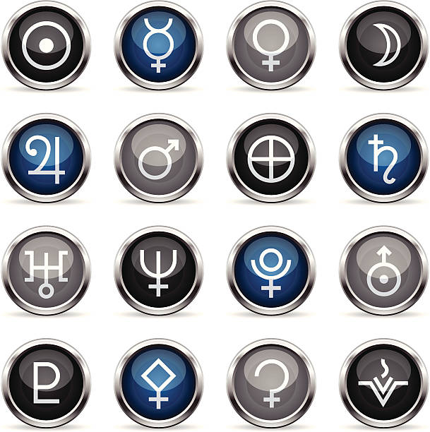 Supergloss Icons - Astrology Planets 16 super glossy icons representing different astrology related figurines. arcane stock illustrations
