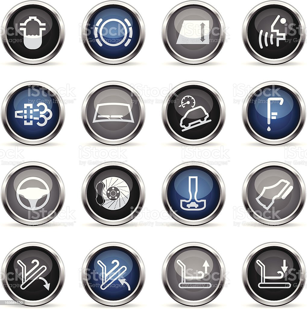 Supergloss Icons - Car Control Indicators vector art illustration
