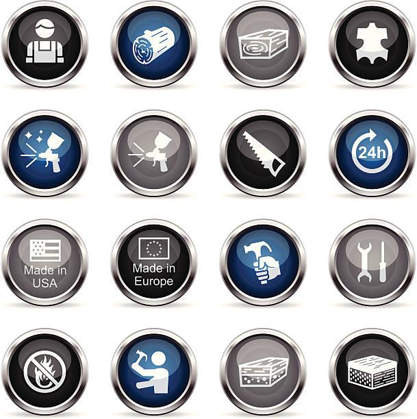 supergloss icons-möbel-material - lederverarbeitung stock-grafiken, -clipart, -cartoons und -symbole