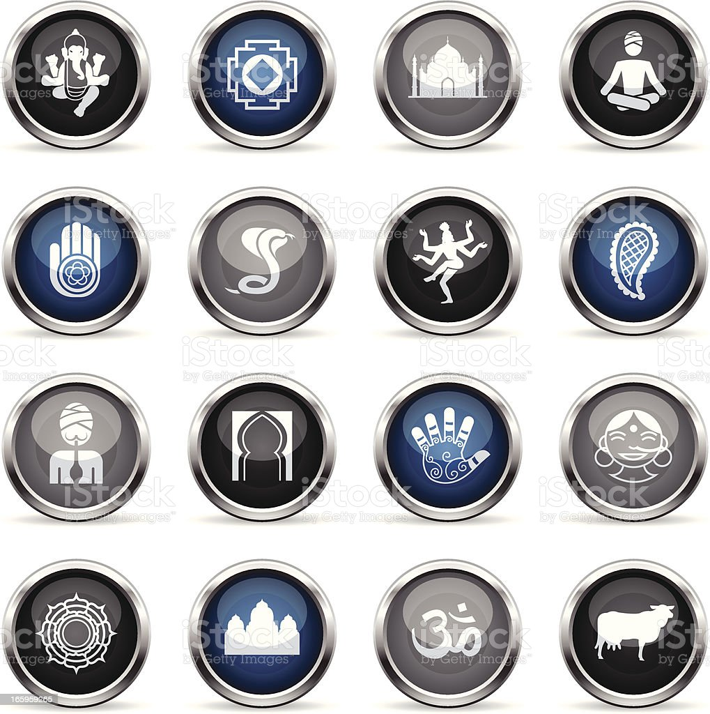 Supergloss Icons - India royalty-free stock vector art