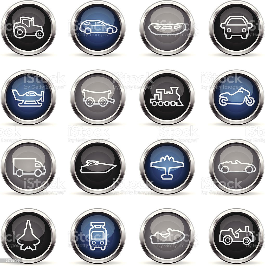 Supergloss Icons - Transportation Outlines royalty-free stock vector art