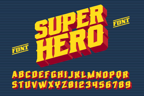 SuperHero 3D vintage letters vector art illustration